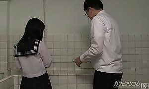 innocent school girl gives blowjobs together with hand jobs for extra credit